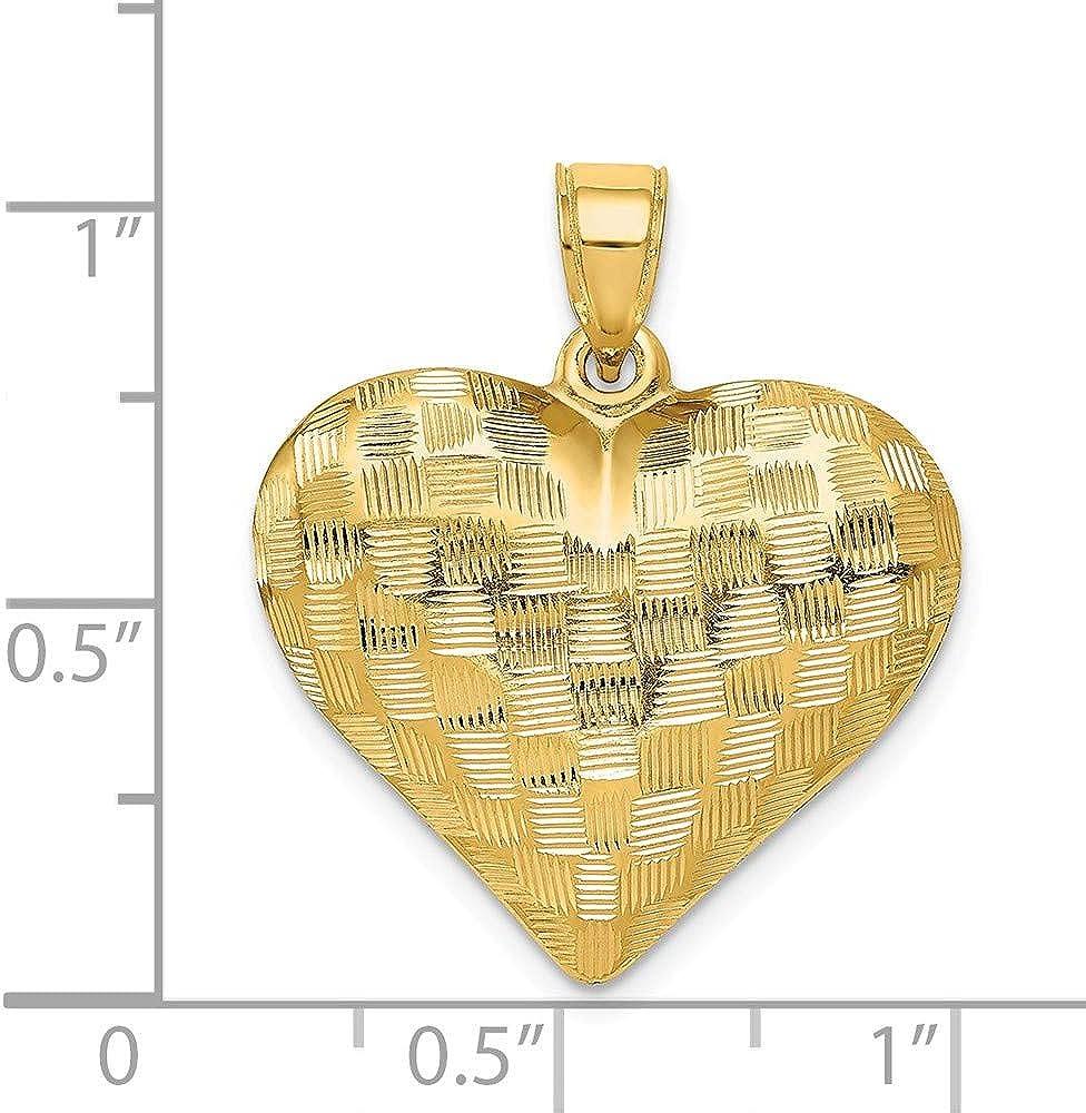 14k Textured Puff Heart Pendant Length Width