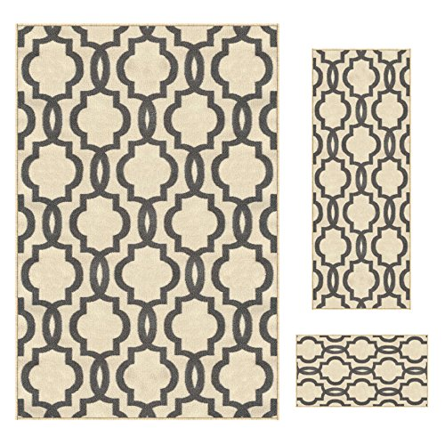 Kapaqua Rubber Backed 3-Piece Rug Set Fancy Moroccan Trellis Ivory & Grey Area Non-Slip Rug - Rana Collection Kitchen Dining Living Hallway Bathroom Pet Entry Rugs RAN204CRM-3PC