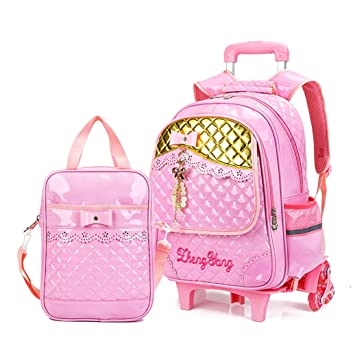 bdbad065ad24 Meetbelify Rolling Backpacks For Girls School Bags Trolley Handbag With  Lunch Bag Pink