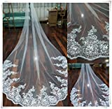 Leekida 4M Long Cathedral Sequin Wedding Bridal Veil With Free Comb