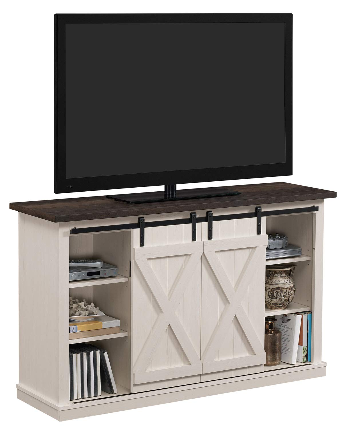 Tangkula TV Stand, Classic Design Wood Storage Console Free Standing Cabinet for TV up to 45 , Media Entertainment Center Home Living Room Furniture, TV Stand Cabinet Brown