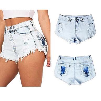 9ef95ebe03 Amazon.com: Endand Women White Denim Shorts Women's Vintage Tassel ...