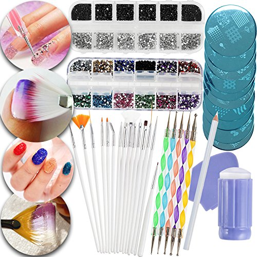 Nail Art Manicure Designs Set Including Rhinestones Crystals Decorations In Different Colors, Dotters Dotting Tools, Brushes, Stamping Plates Templates, Stamper, Scraper and Picker Pencil by VAGASHOP (Image #7)