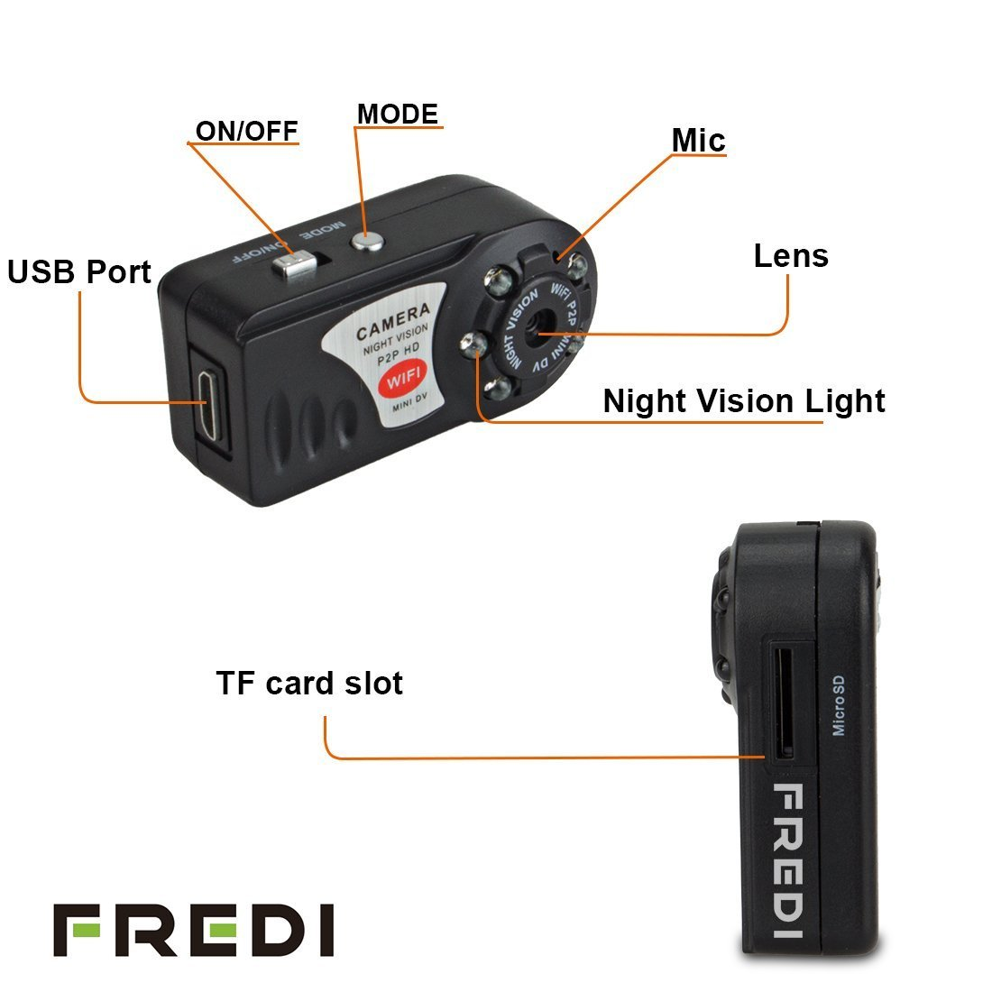 Buy FREDI Motion activated mini hidden camera 720p HD mini wifi ... for Mini Spy Camera For Iphone  61obs