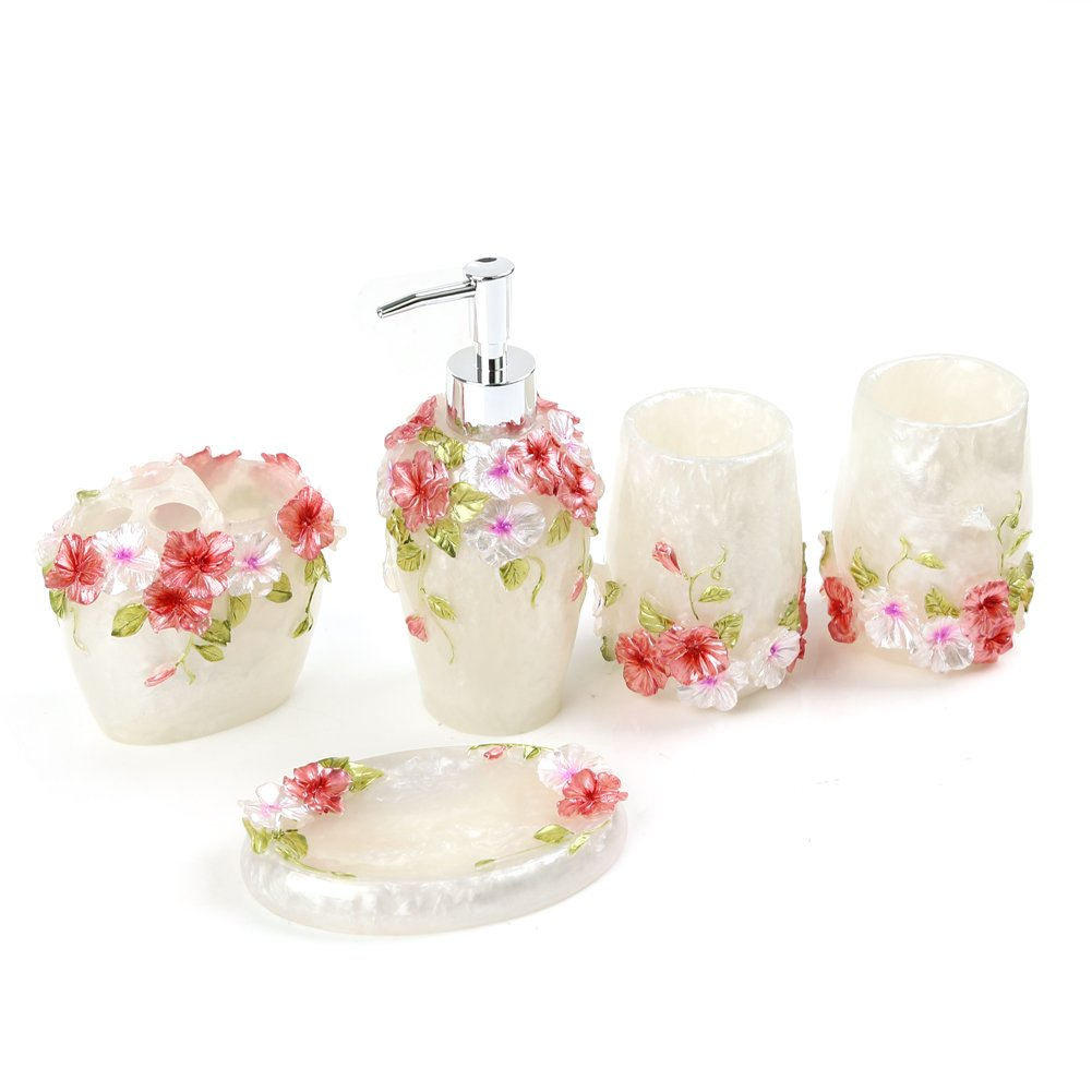 Fuloon Country Style Resin 5Pcs Bathroom Accessories Set Soap ...