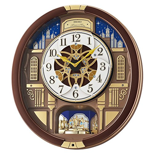 Brown Crystal Clock - Seiko 'Melodies in Motion' Wood Wall Clock, Color:Brown (Model: QXM362BRH)