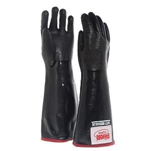 The Fryer Glove Black Neoprene Medium Fryer Gloves with Removable Brushed Jersey Liner - 18