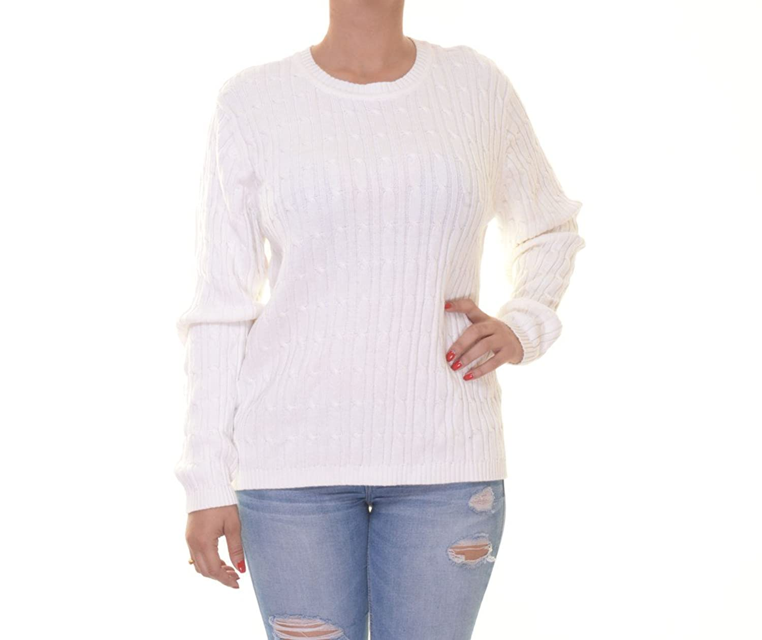Karen Scott Womens Cable Knit Crew Neck Crewneck Sweater