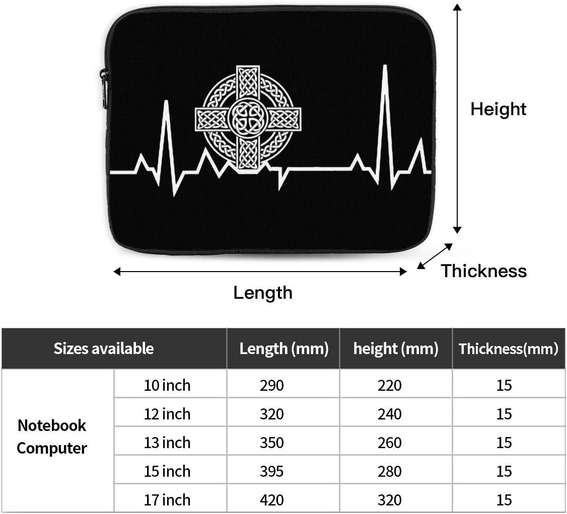 Celtic Cross Irish Scottish Heartbeat Laptop Sleeves Bag Notebook Protective Bag Computer Zipper Cover Pouch 13 Inch Laptops