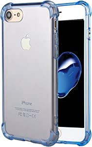 Matone for iPhone SE 2020 Case, for iPhone 7 Case, for iPhone 8 Case, Crystal Clear Shock Absorption Technology Bumper Soft TPU Cover Case for iPhone SE(2nd Gen)/iPhone 7/iPhone 8 - Clear Blue