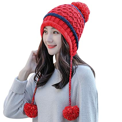 f34e31b8770 Amazon.com  Vovomay Womens Winter Beanie Hat and Scarf Set Warm Knitted Cap  with Scarf Unisex (Black) (Red)  Sports   Outdoors