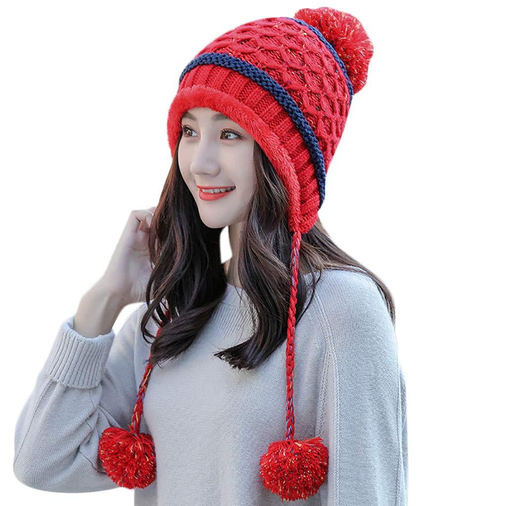 Pandaie-Womens Hats Fashion Women Splicing Color Knited Ball Headgear Beanie Tail Hat Cap