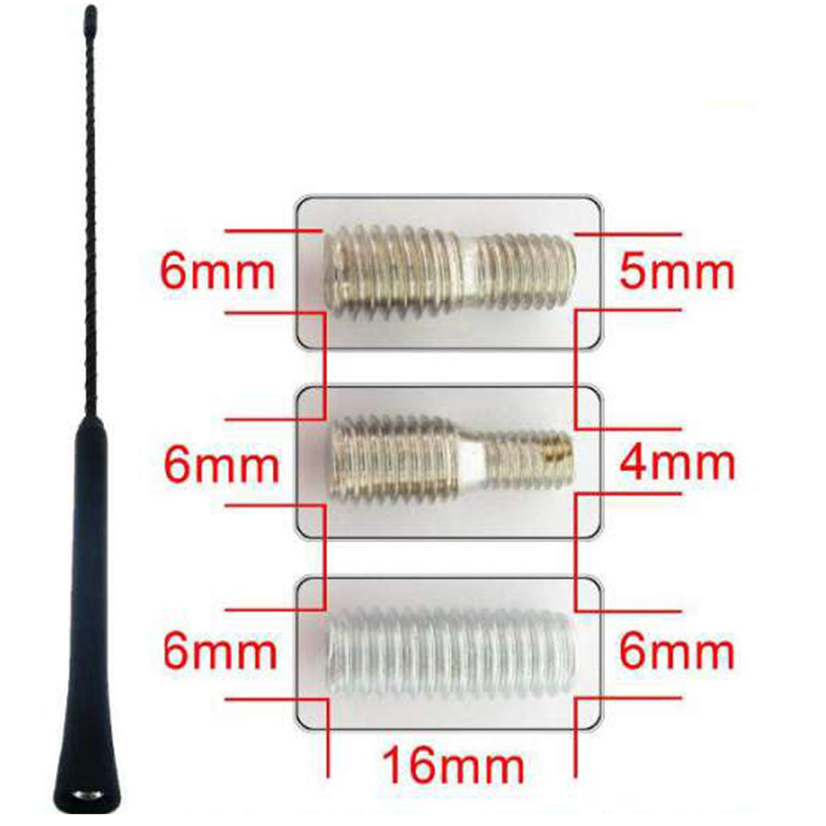 Antena Universal para Radio de Coche MGF Radio Am, 40 cm Color Negro