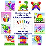 occupational therapy tool kit - Skoolzy Peg Board Pattern Cards - Educational Games Pegs Creative Art Extension Kit | Occupational Therapy Toys for Toddlers and Preschoolers Montessori Fine Motor Skills Color Recognition Matching