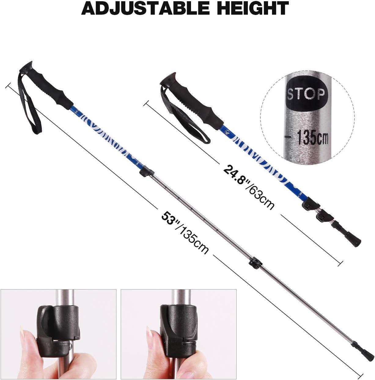 REDCAMP Aluminum Trekking Poles Collapsible 2-Pack Walking Sticks for Hiking