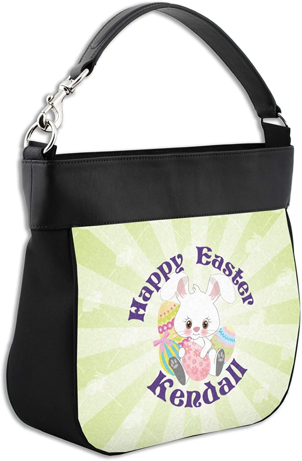 Personalized Easter Bunny Hobo Purse w//Genuine Leather Trim Front /& Back