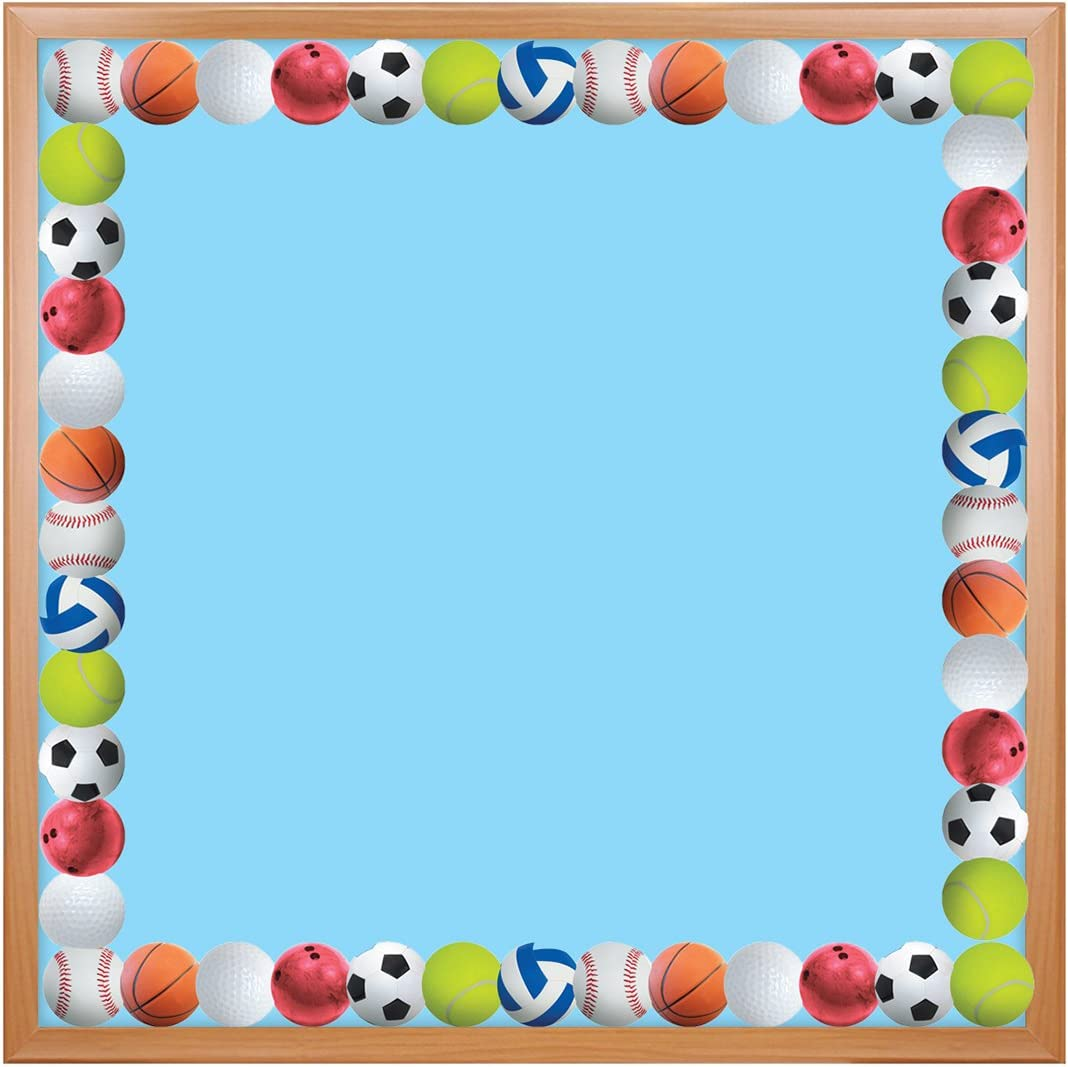 Hygloss Products Sports Balls Die-Cut Bulletin Board Border – Classroom Decoration – 3 x 36 Inch, 12 Pack