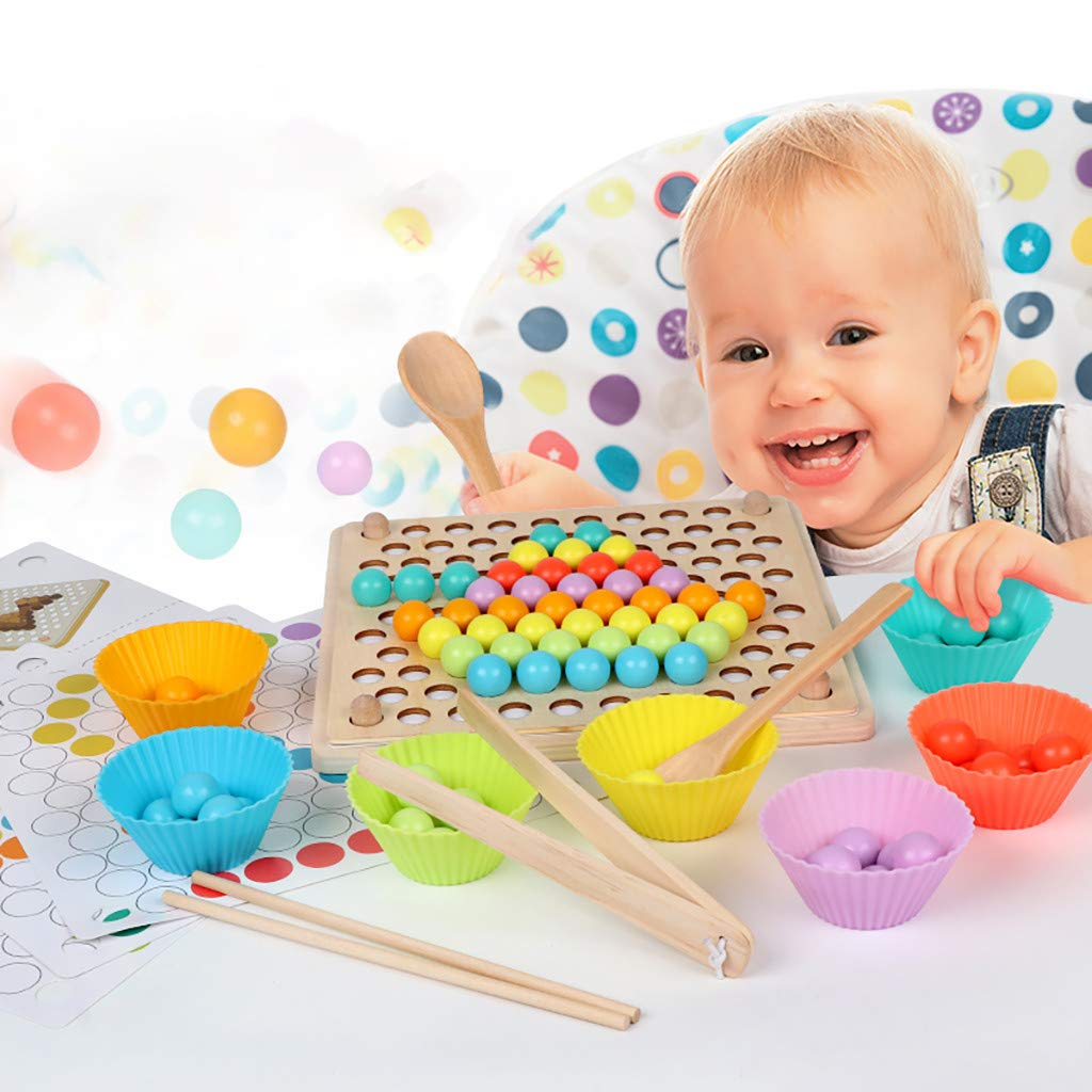 ℊeneral Toddler Game Color Classification Toy 77 Color Beads 5 Map Shape - Use Chopsticks / Spoon / Clip to Play Color Shape Matching Game by ℊeneral (Image #6)