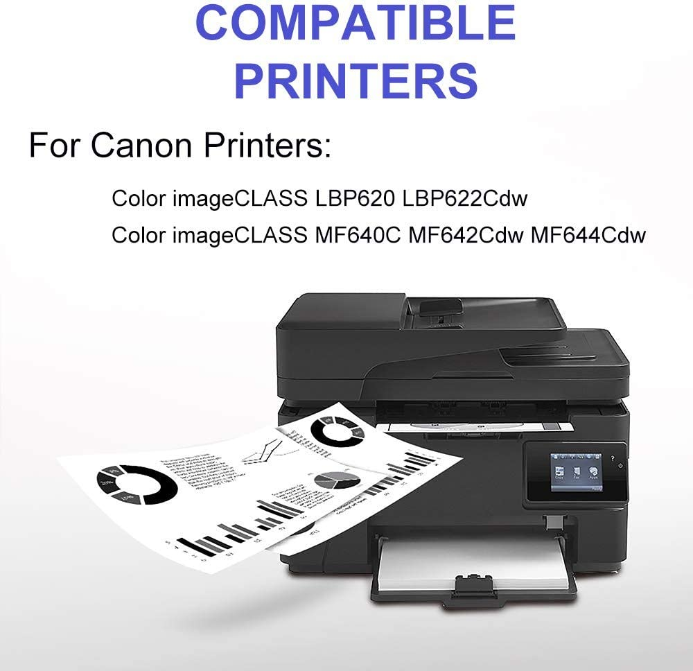 BK+C+Y+M Compatible High Capacity CRG-054 Cartridge 054 Toner Cartridge use for Canon Color ImageCLASS MF640C MF642Cdw MF644Cdw Printer 4-Pack Lines-Consistant