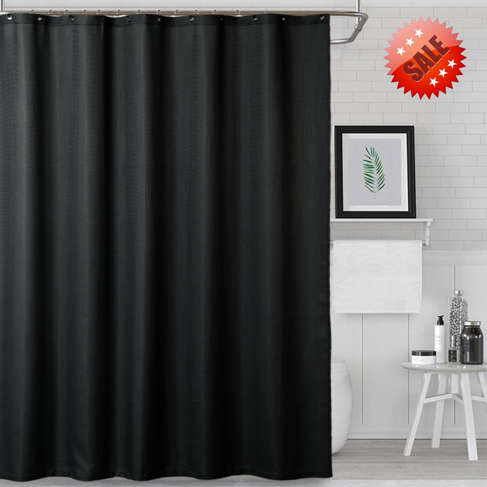 NANAN Multifunctional Fabric Shower Curtain,Hotel Quality Waffle Weave for Bathroom Showers and Bathtubs- Mildew Resistant & Antibacterial - Rustproof Metal Grommets,72