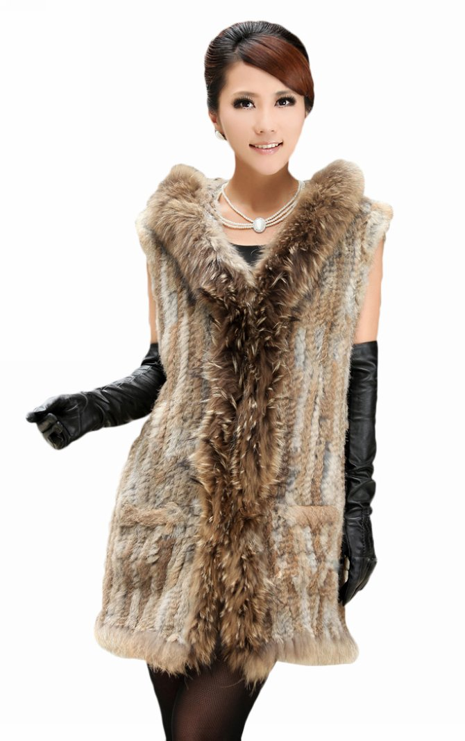 Queenshiny Long Women's Knitted Rex Rabbit Fur Vest With Raccoon Trim With Hood-Natural-M(8-10)