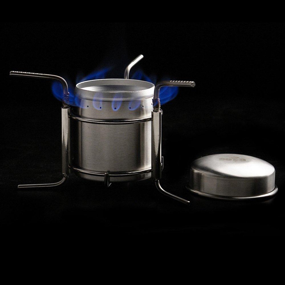 tentock al aire libre Ultraligero Mini Esp/íritu estufa quemador con soporte para Camping Picnic barbacoa