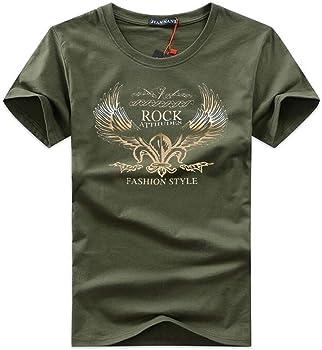 HNOSD 2019 Camiseta para Hombres Hombres Cuello Redondo Estampado Alas Doradas Dibujos Animados Casual Camiseta de Manga Corta Camisetas de algodón Hombres Camiseta: Amazon.es: Ropa y accesorios