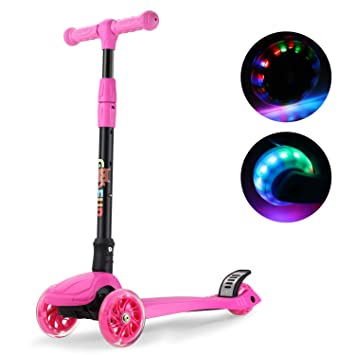 GOSFUN Patinete 3 Ruedas con LED Luces,Diseño Scooter Plegable para Niños de 3 a 12 Años,Alturas Ajustables 64-69-76-83 CM (Rosa)