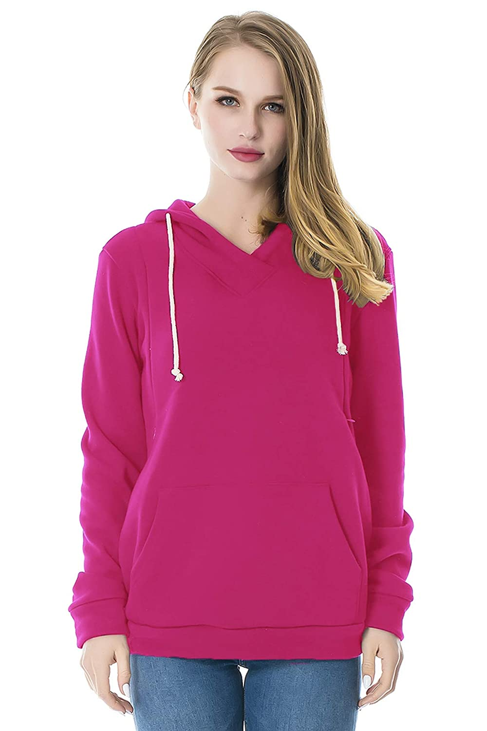 Smallshow Women's Fleece Maternity Nursing Sweatshirt Hoodie with Kangaroo Pocket