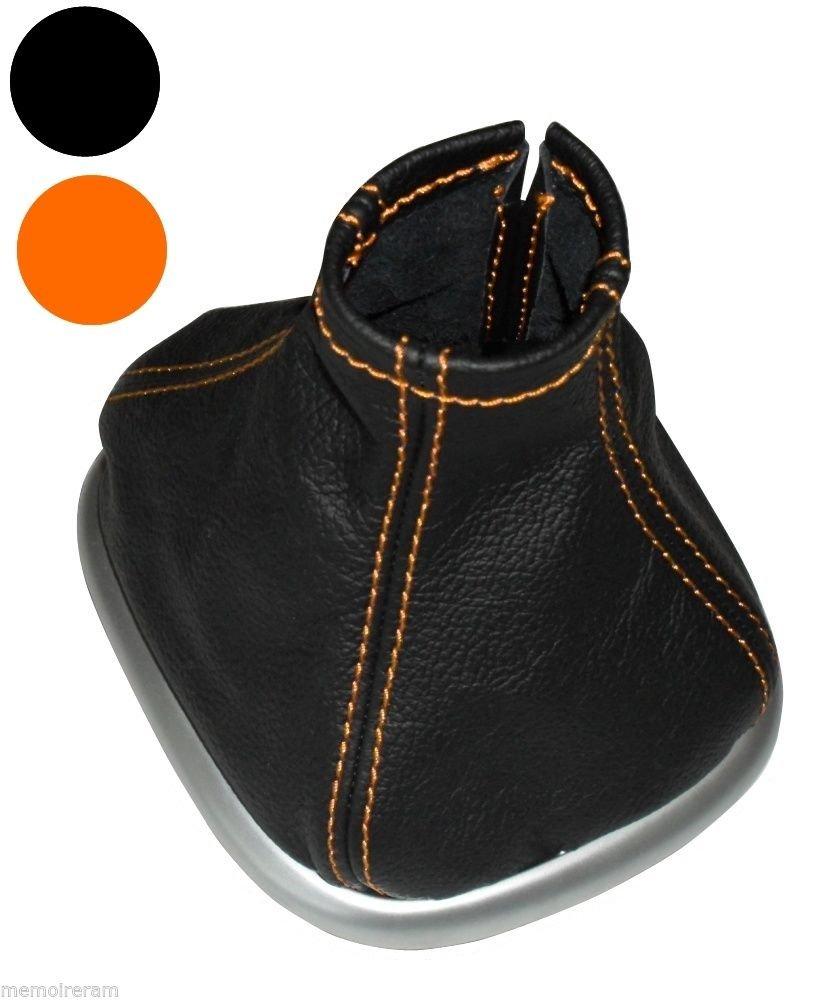 AERZETIX Soufflet Levier de Vitesse en 100/% Cuir v/éritable Coutures Oranges pour Renault Sc/énic 2 2003-2009