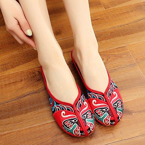 casuales bordados Chnuo red sandalias estilo flip étnico moda Zapatos cómodas de lenguado flop femenino y tendón 44wZx6qc5r