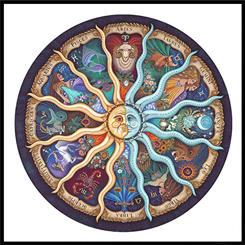 Fanteecy DIY Diamond Painting Embroidery Cross Stitch Craft Kit Full Drill Pasted Wall Stickers for Living Room Decoration (Zodiac)