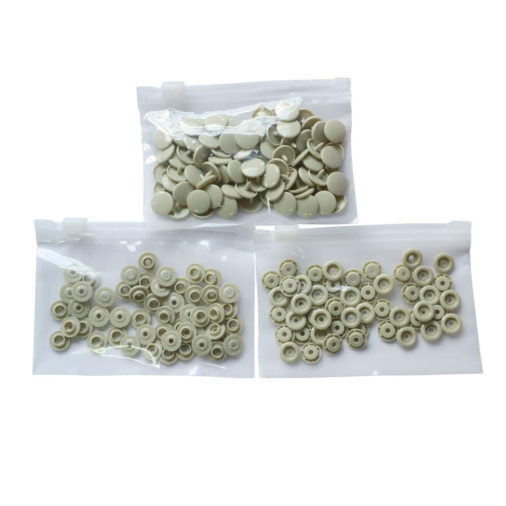 B53 Beige Plastic Snap Button Size 20 100Sets Sew On Plastic Snap Fasteners for Clothing Glossy T5 Round