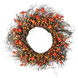 "Northlight 24"" Autumn Harvest Artificial Berries, Twigs and Leaves Rustic Thanksgiving Wreath - Unlit"