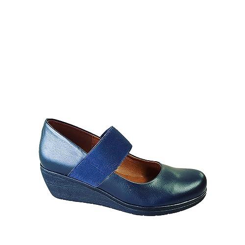 cb59f8b222b Zapato de mujer merceditas de piel color azul marino