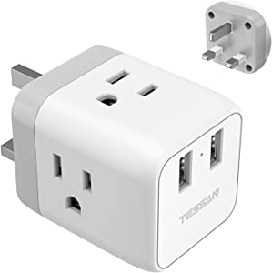 US to UK, Ireland Hong Kong Type G Plug Travel Adapter, TESSAN UK Power Adapter with 3 American Outlets and 2 USB Charging Ports, USA to UK British England Scotland Irish Outlet Adaptor-Safe Grounded