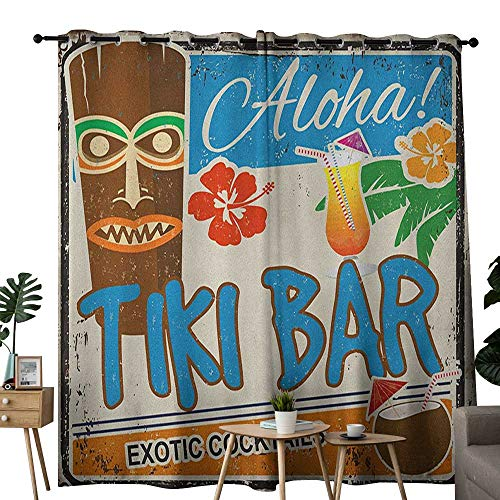 (NUOMANAN Customized Curtains Tiki Bar,Rusty Vintage Sign Aloha Exotic Cocktails and Coconut Drink Antique Nostalgic,Multicolor,Blackout Draperies for Bedroom Living Room 84
