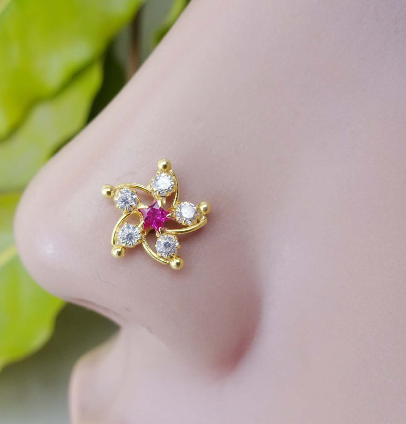 Ruby Star Crystal Gold Nose Stud, White Gold Nose Stud, 18g Gold Nose Piercing, 20 Gauge Nose Screw, Crock Screw Nose Piercing, 925 Sterling Silver Nose Piercing, Indian Nose Stud, Gold Nose Bone, Cubic Zirconia Nose Stud, Mandala Nose Piercing, Unique Nos