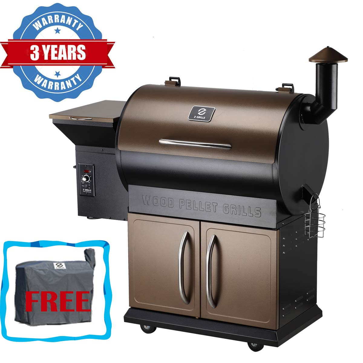 Z Grills Wood Pellet Grill & Smoker with Patio Cover,700 Cooking Area 7 in 1- Grill, Smoke, Bake, Roast, Braise and BBQ with Electric Digital Controls for Outdoor (Grill Cover included) by Z GRILLS