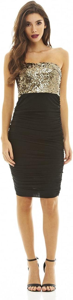 AX Paris Womens Ruched Sequin Bodycon Dress