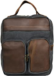 363da9334b6f Wilsons Leather Mens Canvas Backpack W Leather Details Grey