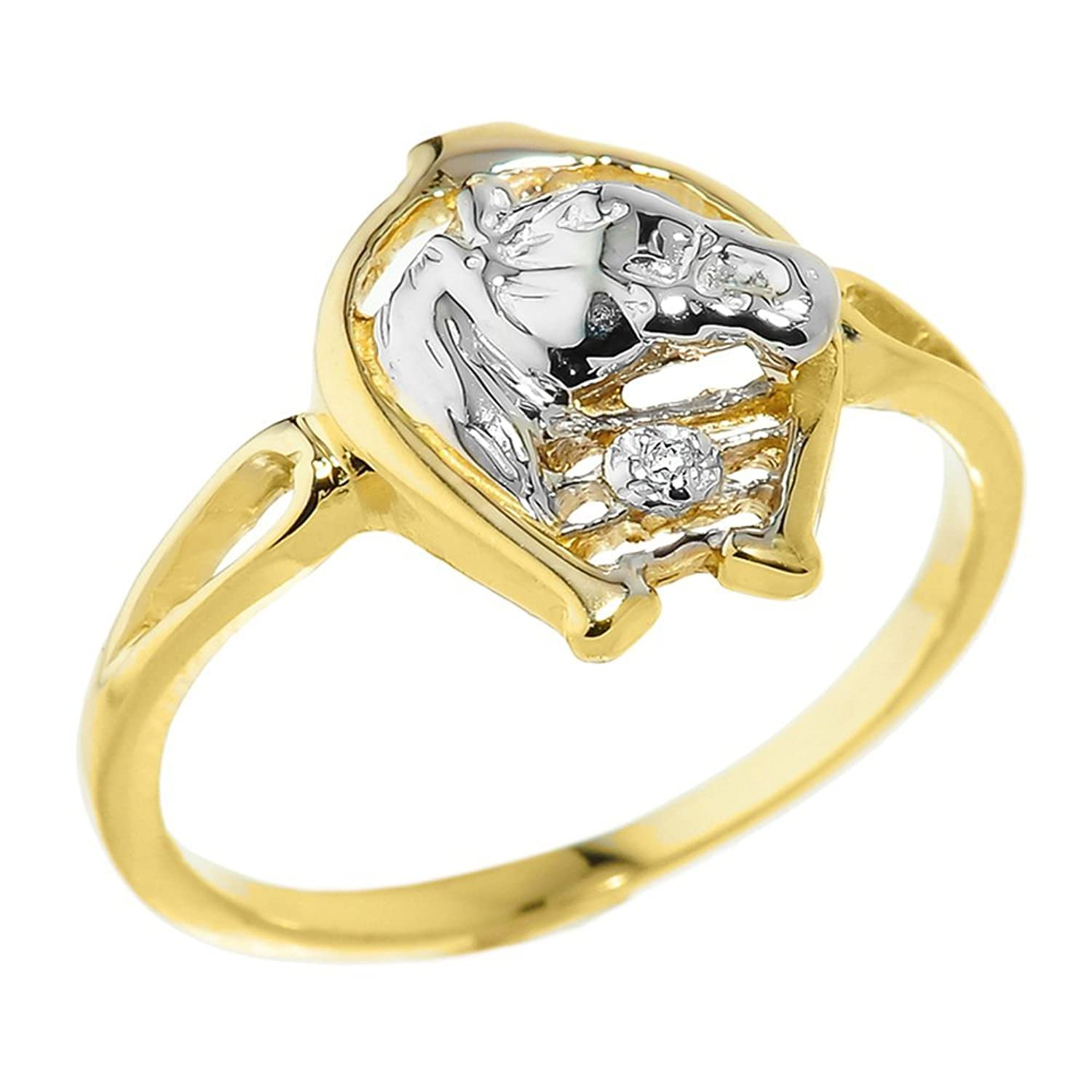 14k Yellow Gold Solitaire Diamond Horseshoe with Horse Head Ring