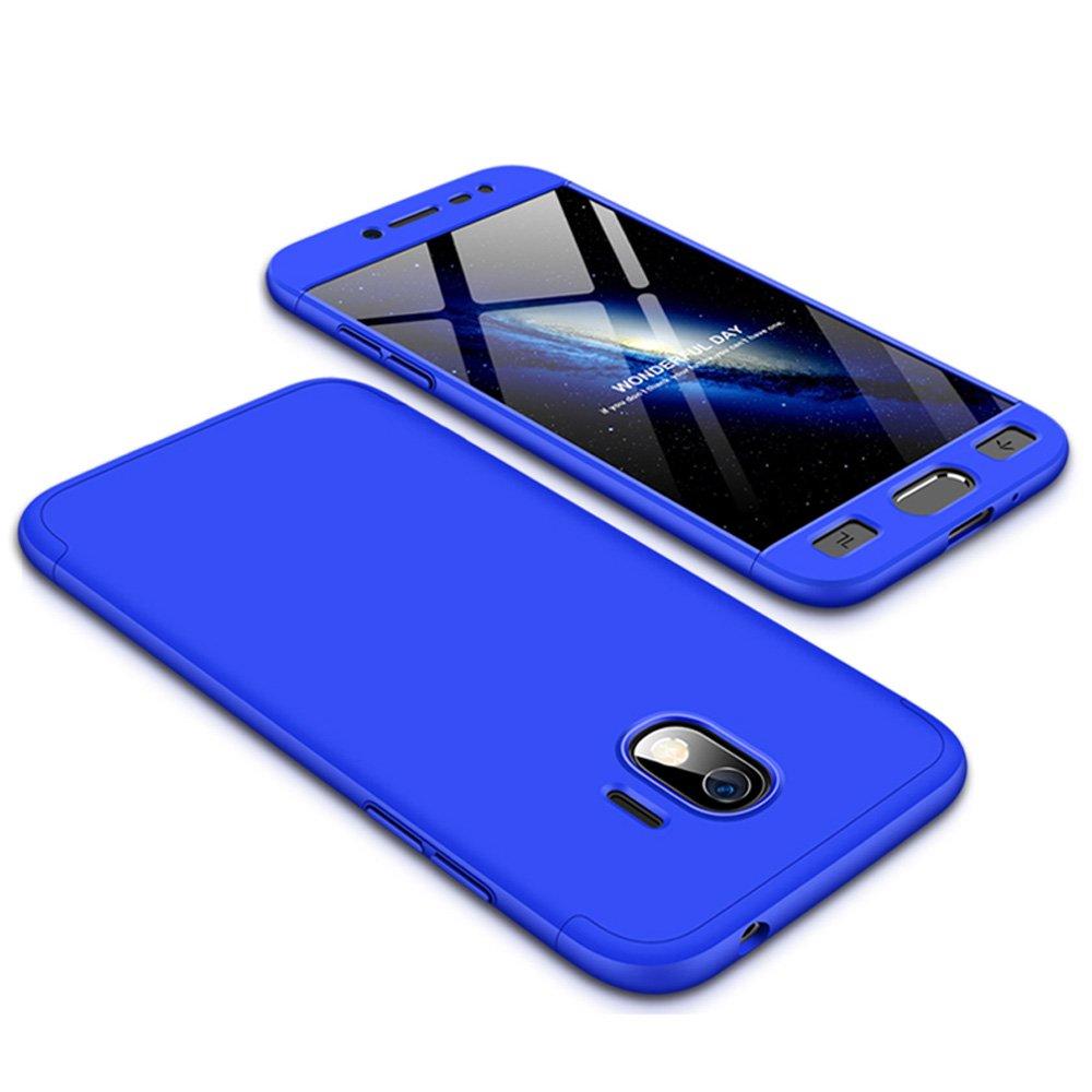 xinyunew Funda Galaxy J2 Pro 2018, 360 Grados Protecció n Case + Pantalla de Cristal Templado, 3 in 1 Anti-Arañ azos Carcasa Case Caso Fundas telé fonos Mó viles para Samsung Galaxy J2 Pro 2018 Azul