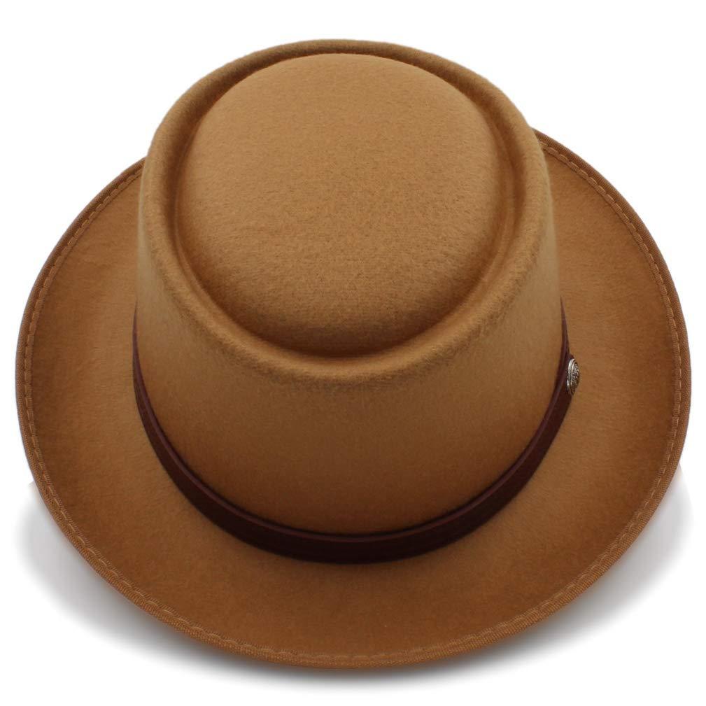 Unisex Wool Felt Skimpy Brim Pork Pie Hat with Fashion Belwt Size 58CM