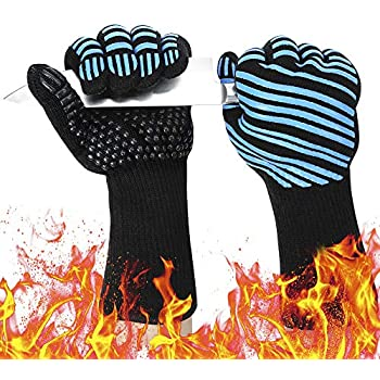 932℉ Extreme Heat Resistant BBQ Gloves, Food Grade Kitchen Oven Mitts - Flexible Oven Gloves, Silicone Non-Slip Cooking Hot Glove for Grilling, Baking (Blue, Palm Width 3.9 in)