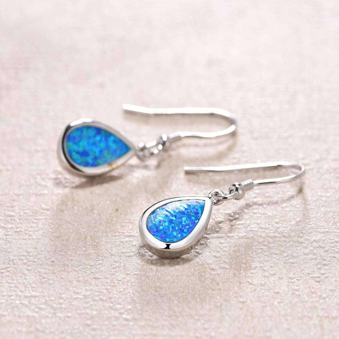 FANCIME Sterling Silver Opal Teardrop Dangle Earrings Blue White Dainty Pear Shaped Hook Small Waterdrop Earrings Jewelry for Women Girls