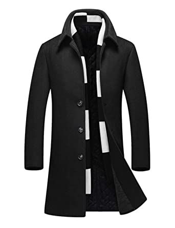 f6d6222a28 Yeokou Men s Business Casual Slim Single Breasted Long Wool Parka Trench  Coat (X-Small