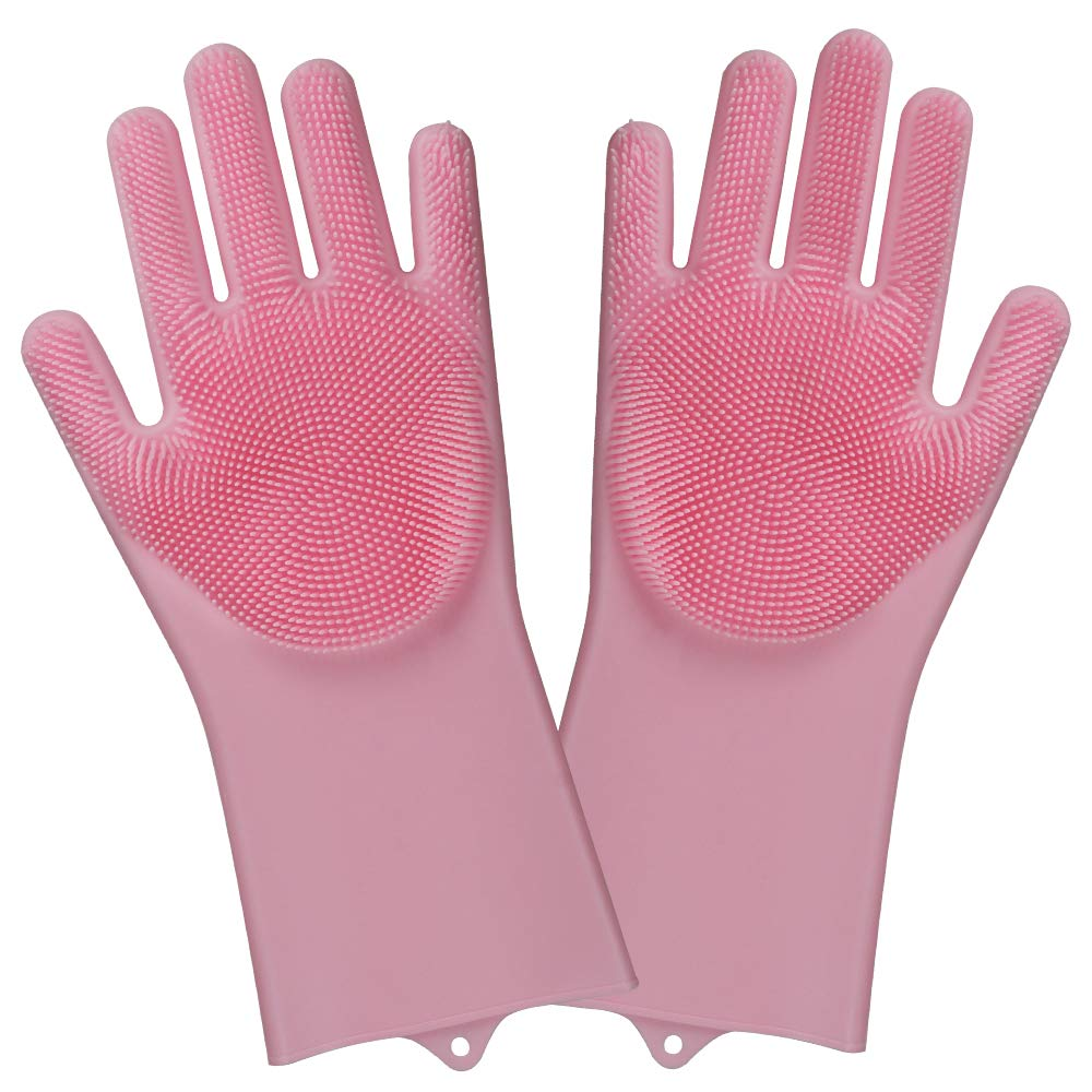 Magic Silicone Gloves with Wash Scrubber Reusable Brush Silicone Dish Scrubber Hand Cream Heat Resistant Gloves Kitchen Tool for Cleaning, Cooking, Household, Dish Washing, Washing the Car, Pet Hair Care (Pink) WETONG