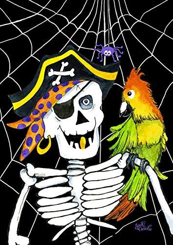 Toland Home Garden Skeleton Pirate 12.5 x 18 Inch Decorative Fall Halloween Buccaneer Yarr Funny Garden Flag