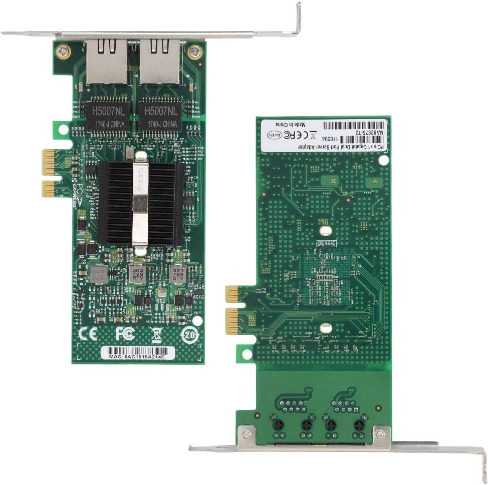Tosuny for Intel 82575EB//GB Dual Port Gigabit Network Interface Card PCI-Ex1 10//100//1000Mbps NIC Network Adapter for Linux//Windows
